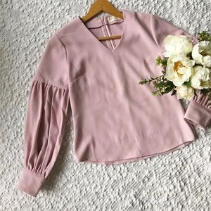 Rachel Parcell Everly Long Sleeve V-Neck Top Pink